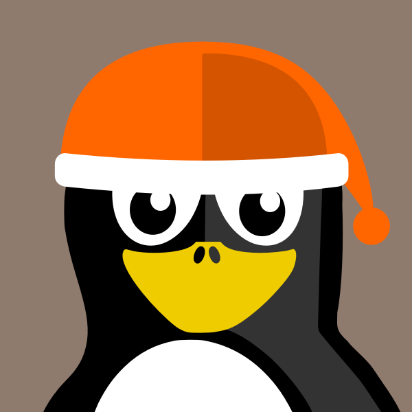 Vector image of penguin with a Christmas hat