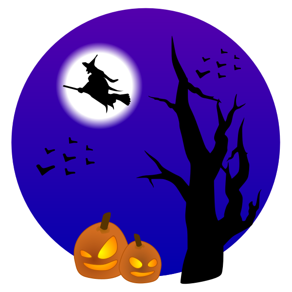 Halloween scenery with witch vector drawing