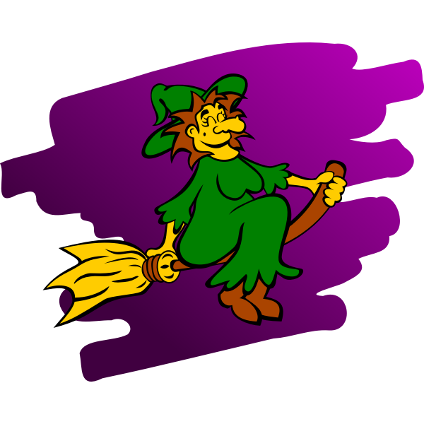 Yellow faced witch vector graphics