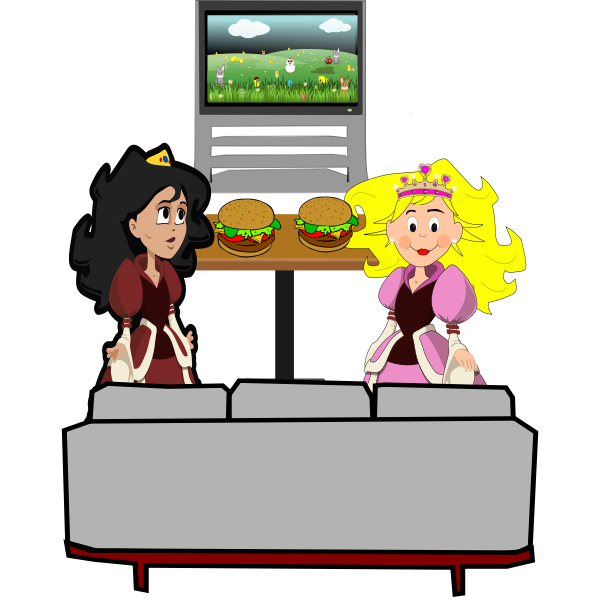 Hamburger girls vector illustration