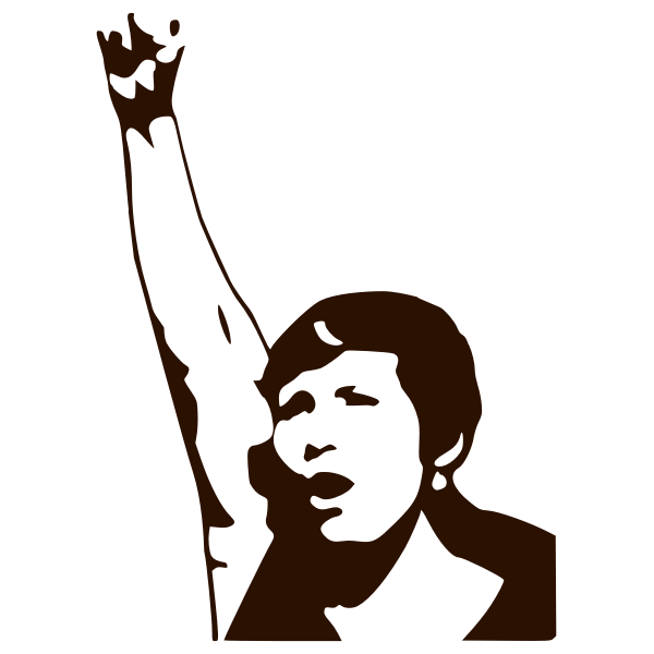 Silhouette vector drawing of a woman demonstrator