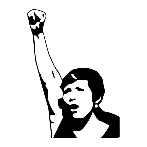 Vector drawing of woman power raised hand