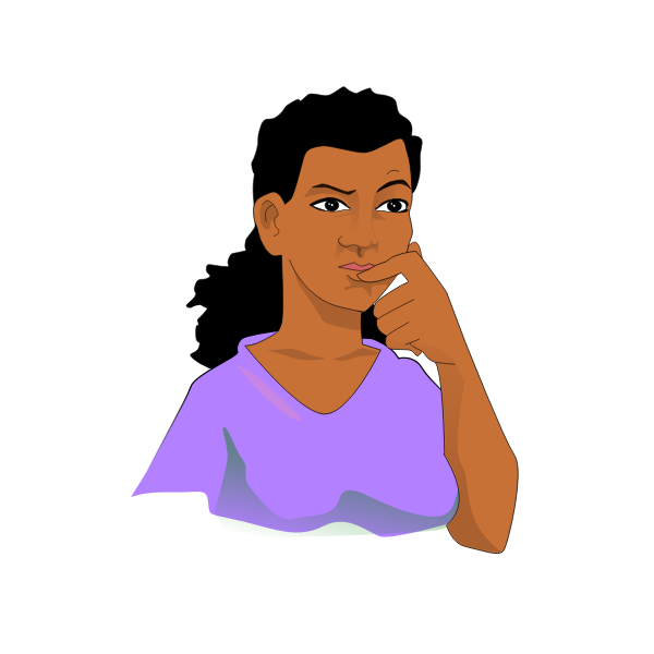 Afro woman thinking vector graphics