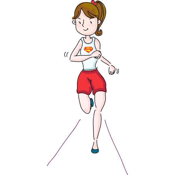 Silhouette vector image of woman running