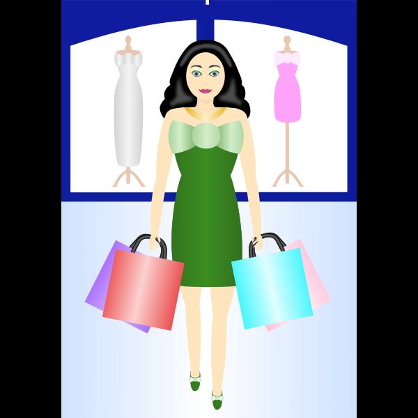 Woman shopping vector clip art