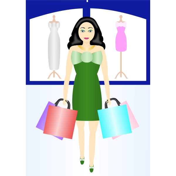 Woman shopping vector clip art