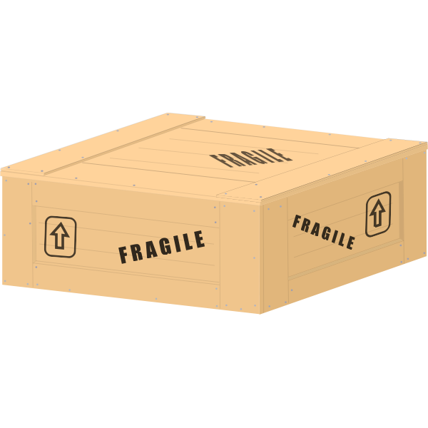 Vector clip art of a low wooden crate with fragile load