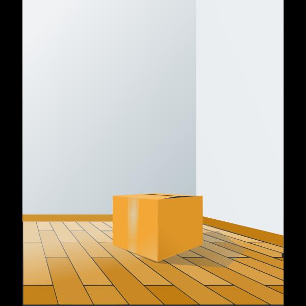 Cardboard box on a wooden floor vector illustration