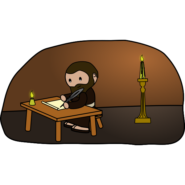 Vector drawing of bearded man writing at candlelight
