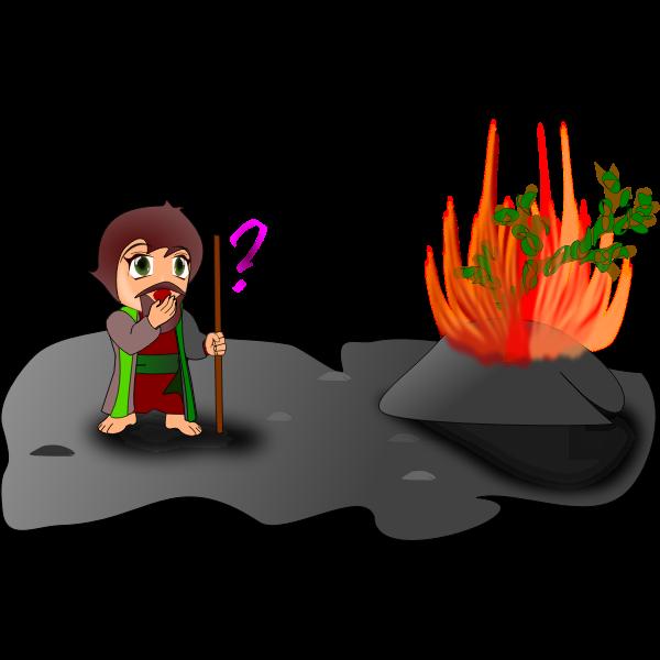 Vector illustration of Moses and burning bush