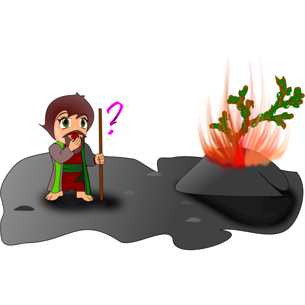 Vector illustration of Moses and burning bush