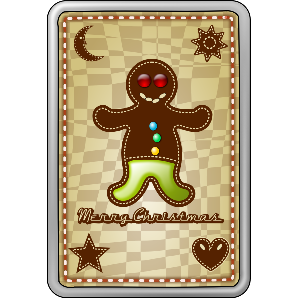 Vector image of happy cookie Christmas card