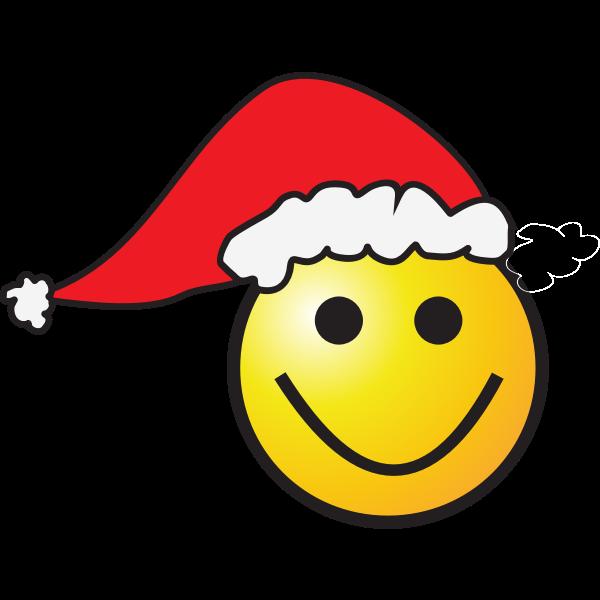 Smiley with elf hat vector