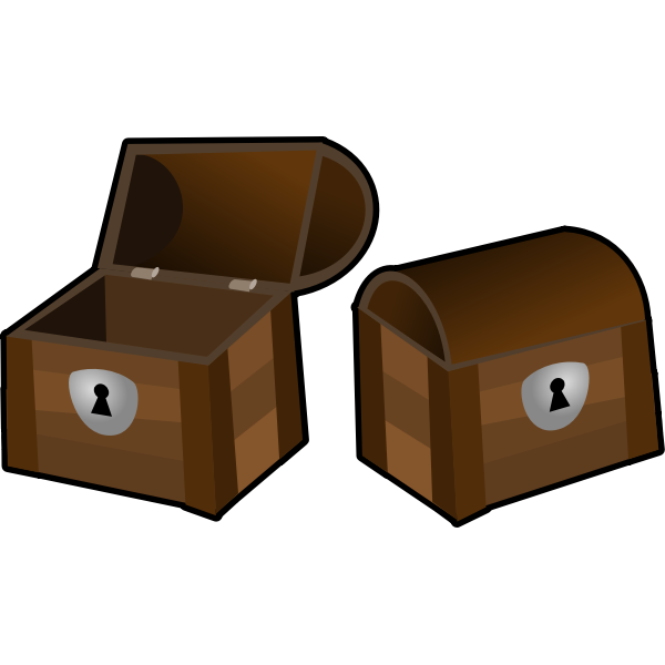Vector clip art of an open and a closed treasure chest