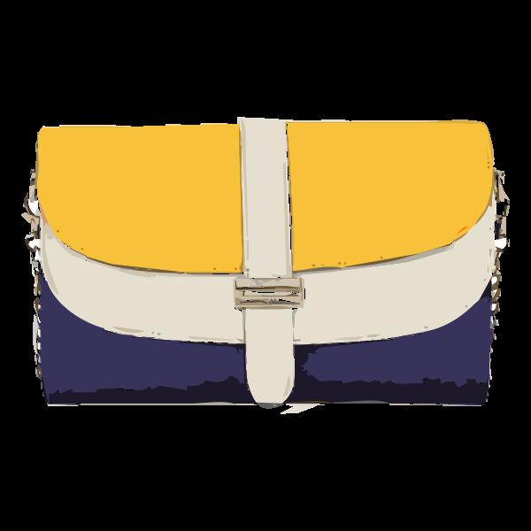 yellow tan blue handbag