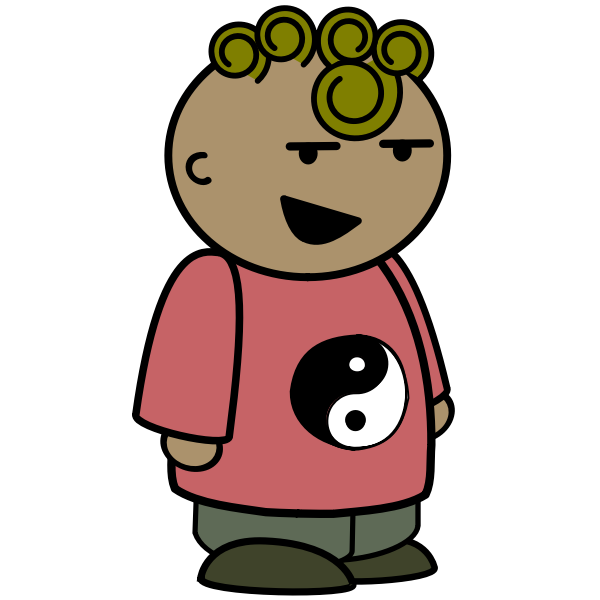 Yin yang cartoon boy