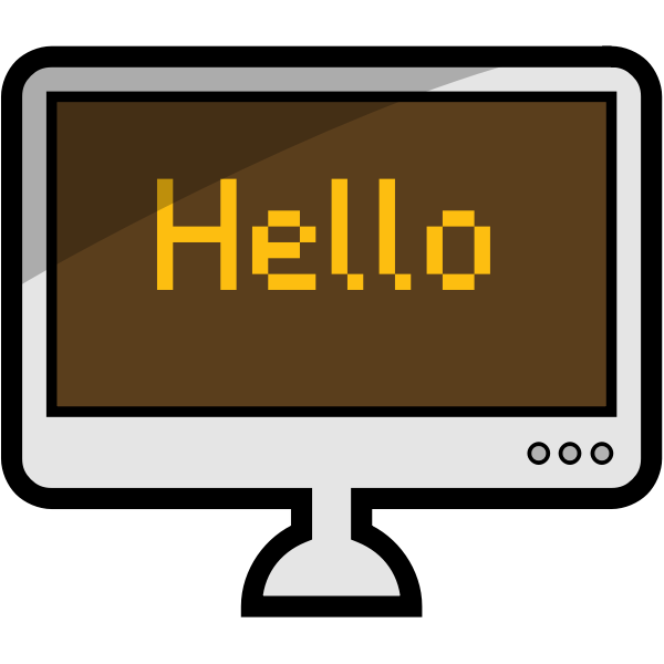 Vector image of a desktop computer with word HELLO on its screen