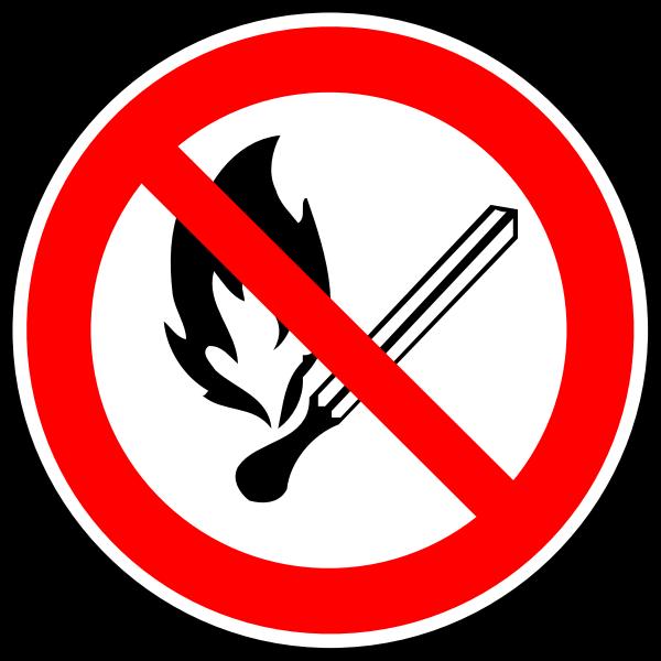 Open fire forbidden vector sign