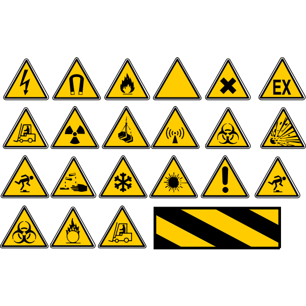 Danger warning signs slection vector graphics