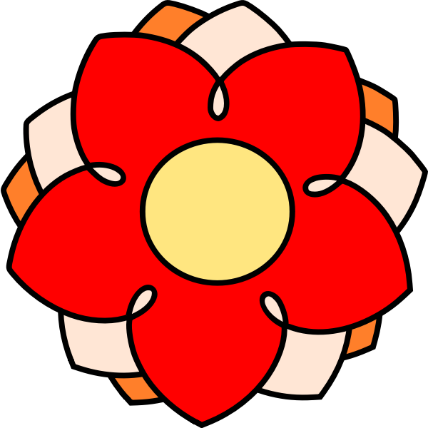 Vector illustration of red flower