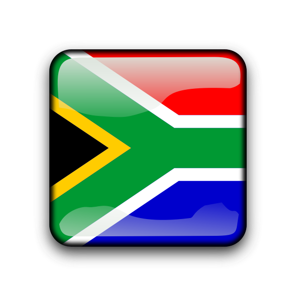 Vector image of square shiny South African flag