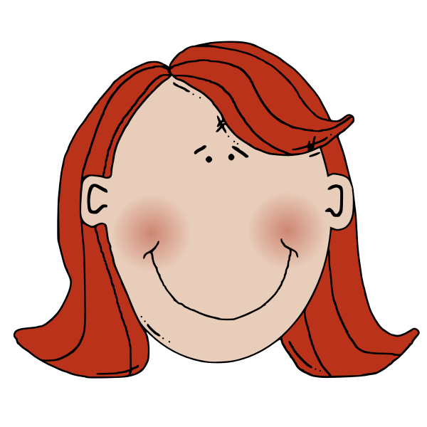 Cartoon vector illustration of a woman with red hair and blushed face