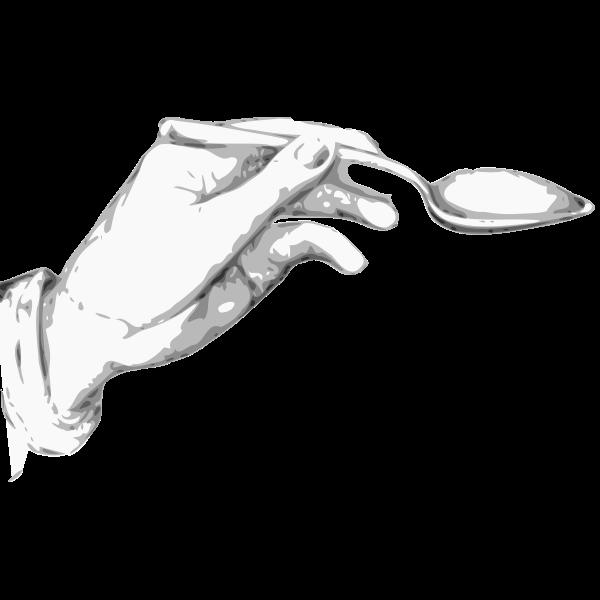 Hand holding a spoon Vector clip art