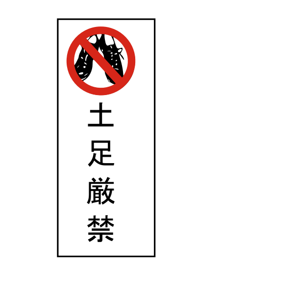 No shoes Japanese sign vector image