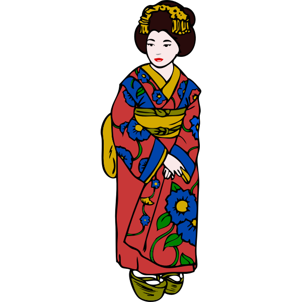 Woman in Kimono Vector Art