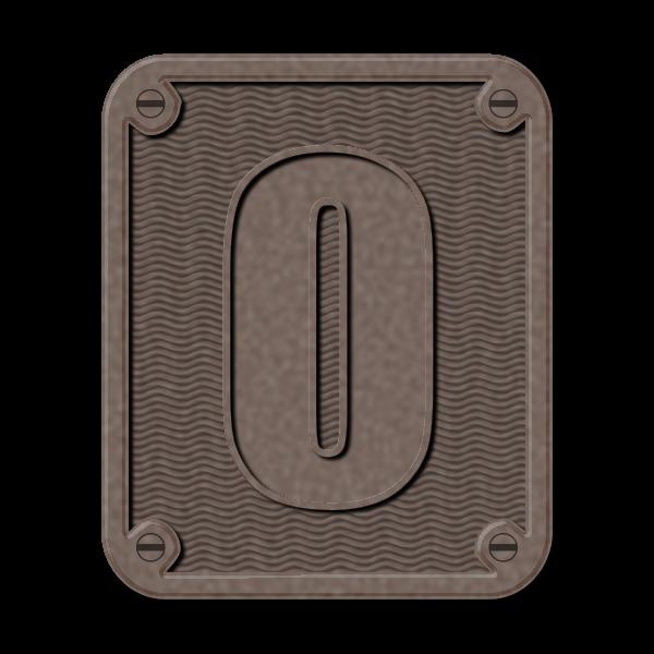 Metal number zero vector clip art