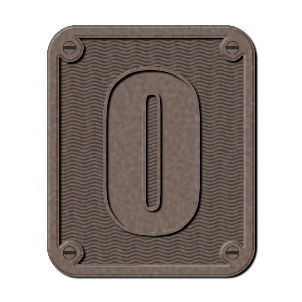 Metal number zero vector clip art