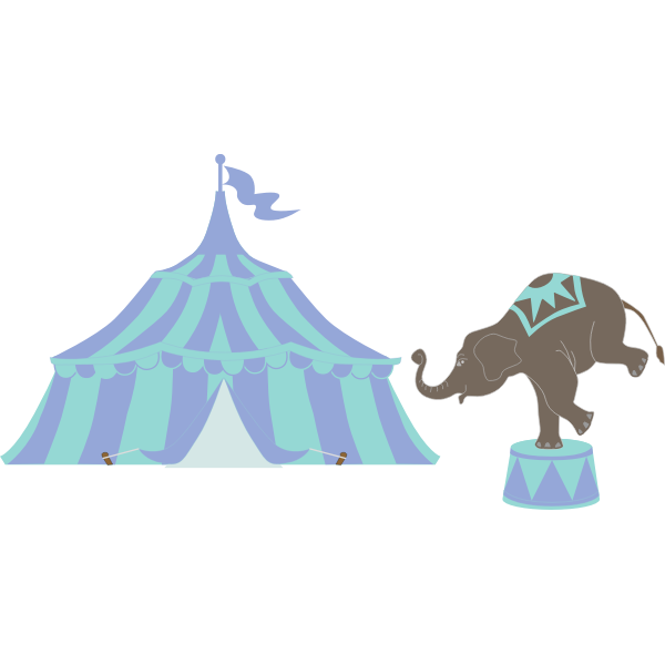 Vector clip art of circus tent with elephant