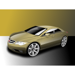Vector illustration of powerful sedan gold colored car