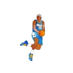 Afro-American basketball player about to score vector image