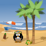 Penguin on summer holiday vector illustration