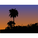 Palm trees silhouette vector drawing