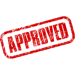 Vector clip art of approved stamp