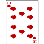 Ten of hearts playing card vector clip art