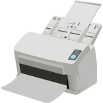 Photorealistic scanner and printer machine vector drawing
