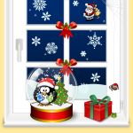Christmas window home scene vector graphics