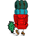 Vector illustration of a backpacker in color