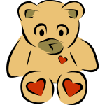 Teddy bear with hearts vector clip art
