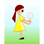 Girl with lollipop vector drawing