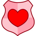 Vector drawing of love shield