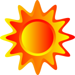 Red, orange and yellow Sun vector drawing
