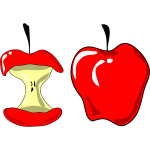 Vector illustration of red apple and apple cut in a half