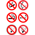 "Vector illustrartion of selection  of """"no smoking"""" signs"