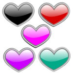 Color glass hearts vector image