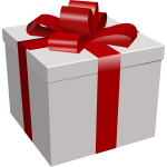 Vector image of white gift box with red ribbon