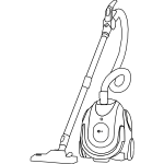 Vacuum cleaner line art vector drawing